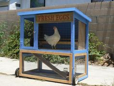 This little tractor coop for chickens would make a nice quarantine coop or intermediate coop for when chicks are old enough to go outside but not big enough to go in with the big hens.