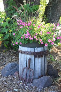 Cider Press Planter.  Would be sweet full of fall annuals.
