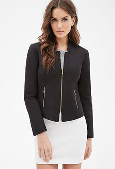 Collarless Zippered Blazer | LOVE21 - 2000138467