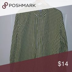 Mens dress shirt Green and shite checkered 2xl tall jcpenney Shirts Casual Button Down Shirts