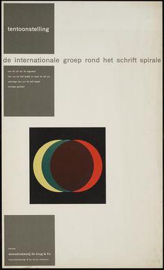 Pieter Brattinga, kantine steendrukkerij de Jong & Co Hilversum 19 juli tot 31 augustus de internationale groep rond het schrift spirale, 1958