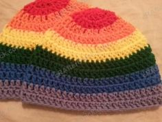 GREAT hat pattern. I made it in a solid color, and it turned out very well. Fast to stitch, too! Rainbow Striped Beanie Hat Crochet Pattern for Teen Women Men