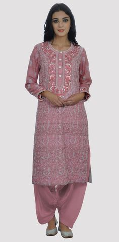 Wine Pink Chikankari And Parsi Gara Hand Embroidered Suit