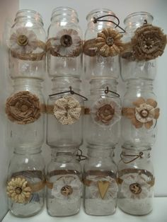 12 Mason Jar Wedding 50th Anniversary Gold Decorations Shabby Country Chic
