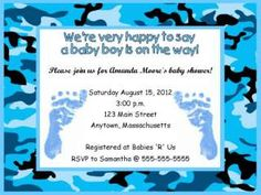 Blue Camo Baby Shower Decorations | Boy Blue Feet Zebra Print Baby Shower Invitations