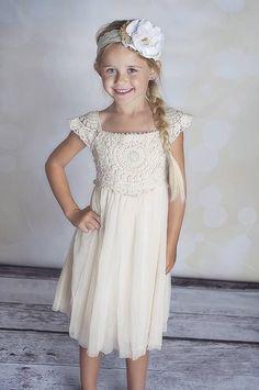 Girls vintage boho Flower Girl Wedding lace crochet princess tutu dress flower
