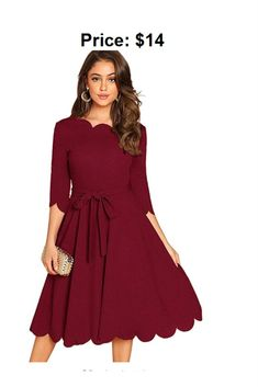 Women's 3/4 Sleeve Belted Knee Length Fit & Flare Scallop Party Dress Save 60% – US only promo code 60WYSHXK End date: Jul 24 #offer #sale #deal #Discount #discountclothing