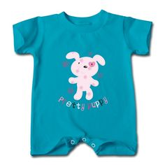 Pretty Puppy Turquoise Cute T-romper For Baby High Quality-Funny Clothing with your own favorite texts or photos in our designer. free shipping and 24hours available to help.