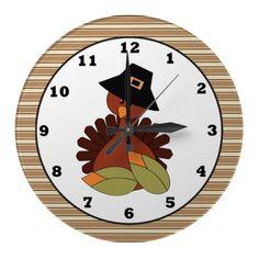 Thanksgiving Turkey Holiday wall clock