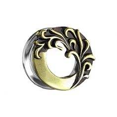 6 mm, 8 mm, 10 mm, 12 mm, 14 mm oder 16 mm Flesh Tunnel altgold Tribal Welle aus Chirurgenstahl 316L Flesh Tunnel, Chf, Messing, Plugs, Piercing, Rings For Men, Gold, Silver Rings, Tattoo
