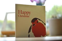 Letterpress Christmas Card | Winter Holiday | Robin Non Religious Illustration | Funny & Simple