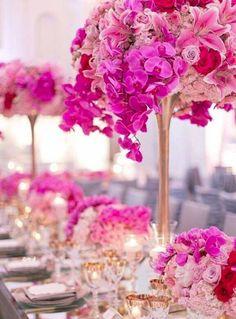 Photographer: Katie Beverley Photographer, Via Revelry Event Designers; Romantic pink floral gold stem wedding reception centerpiece;
