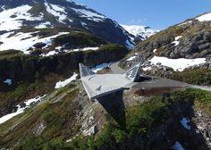 Mountainside platform by Code Arkitektur creates three vertiginous viewpoints.