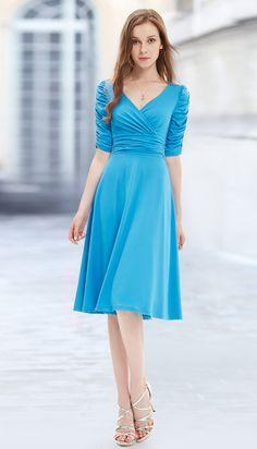 Ever-Pretty V-neck 3/4 Sleeve High Stretch Short Casual Dress  #everpretty #casual #dress