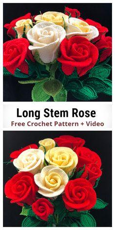 Free Crochet Rose Pattern, Crochet Daisy, Crochet Flower Tutorial, Crochet Gratis, Crochet Leaves, Crochet Stitches Patterns, Crochet Roses, Crochet Diagram, Simply Crochet