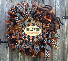 """26"""" Halloween Greetings www.facebook.com/holidaybaubles2 #decomesh #mesh…"""