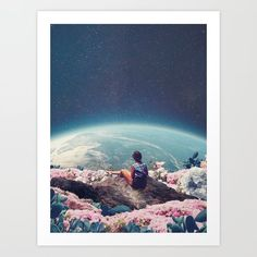 My World Blossomed When I Loved You Artwork Print by Frank Moth - X-Small Canvas Artwork, Artwork Prints, Fine Art Prints, Surreal Collage, Collages, Buy Frames, My World, Wrapped Canvas, Gallery Wall