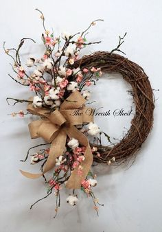 Cherry blossom and cotton ball wreath by FloralByRoo on Etsy