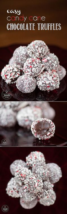 Rich and delicious Easy Candy Cane Chocolate Truffles take very little time to make and are the perfect peppermint holiday treat that you can give!