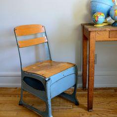 Vintage Schoolhouse Chair design inspiration on Fab. Antique School Desk, Vintage School, Old School House, School Days, School Stuff, Modern Rustic Furniture, School Chairs, Retro Renovation, Kid Spaces
