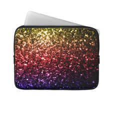 Beautiful rainbow yellow red purple sparkles laptop computer sleeves #designerfriends#designs#friends