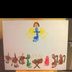 New Christmas decoration    Hand and feet nativity scene  Used 22x28 canvas with 2 & 4 yr old kiddos