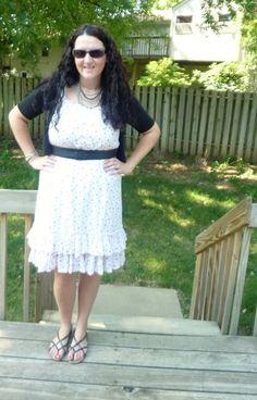 Just Another Smith: white and pink polka dot ruffle dress, black belt, black cardigan, black sandals