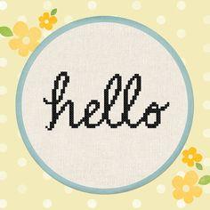 Cursive Hello. Text Cross Stitch Pattern PDF File