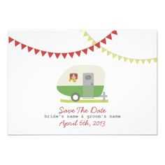 Green Retro Trailer & Wedding Save The Date Personalized Announcements by Jill's Paperie