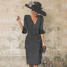 V-Neck Cutout Flounce Ruffle Trim Bust Darts Polka Dot Petal Sleeve Bodycon Dresses Elegant Point Slim Evening Dress Vacation Dresses, Day Dresses, Evening Dresses, Casual Dresses, Fashion Dresses, Ladies Dresses, Trendy Dresses, Fashion Clothes, Bodycon Dress With Sleeves