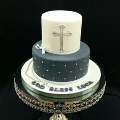 Navy Blue, White & Silver Communion Cake with Cross & Rosary