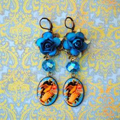 http://www.etsy.com/listing/71774786/stunning-blue-rose-shabby-chic-bird #jewelry #earrings