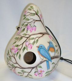 Blue Bird and Cherry Blossoms Gourd Birdhouse  by FromGramsHouse