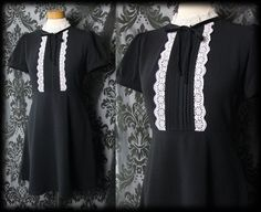 Gothic Black White Lace Bib DISDAINFUL High Neck Ties Tea Dress 6 8 Victorian High Neck Blouse, Sheer Blouse, Black Trim, Black And White, Gothic Clothing, Gothic Outfits, Velvet Ribbon, Dark Fashion, High Collar