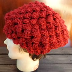 Autumn Red Crochet Hat Womens Hat Crochet Shell Stitch Crochet Beret Hat Autumn Red Hat LENA Womens Crochet Beret Hat by strawberrycouture by #strawberrycouture on #Etsy