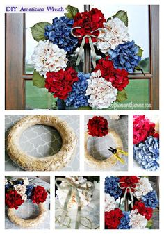 Photo tutorial of DIY Hydrangea Patriotic Wreath Patriotic Crafts, Patriotic Wreath, July Crafts, 4th Of July Wreath, Wreath Crafts, Diy Wreath, Tulle Wreath, Wreath Ideas, Xmas Wreaths