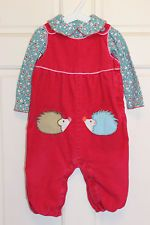 Mini Baby Boden 12-18 months Lined Cord Hedgehog Dungarees + Pretty Collar Body