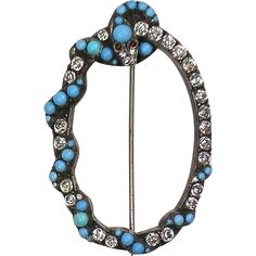 Extremely RARE Antique Victorian Silver Paste Serpent Brooch Turquoise Cabochons ~ Sparkles