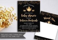 A Baby is Brewing Baby Shower Invitation | Black and Gold Baby Shower | Teapot Baby Shower | High Tea Baby Shower | Sparkle and Shine (042) by kellylouisedesigns on Etsy