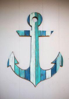 Painted Wood Anchor 18 от CoastalCreationsNJ на Etsy