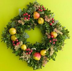 Boxwood, Pear and Berry Wreath Dress up a 9-inch square boxwood wreath with Seckle pears, seeded eucalyptus and faux berry sprigs.