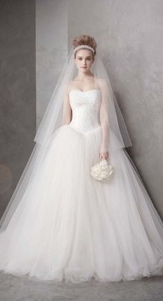 White by Vera Wang Style VW351135 Ball Gown with Chantilly Lace Appliques at Bodice