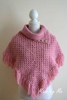 Kinderponcho gehaakt http://giftsmadebyme.jouwweb.nl/sjaals-mutsen-en-poncho-s/poncho-s-en-omslagdoeken #poncho #haken #roze #meisjes