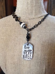 Eat Sleep Play Ball Hand Stamped Hammered Baseball Mom Necklace by KrisLanae Baseball Necklace, Baseball Mom, Eat Sleep, Hand Stamped, Pendant Necklace, Play, Jewelry, Design, Fashion