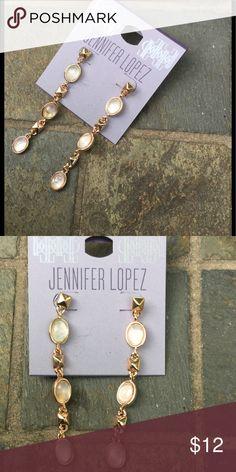 """Jennifer Lopez Dangle Earrings !  Jennifer Lopez Beautiful 3"""" Dangle Earrings ! Rose gold tone ! Each earring has 3 pink opal looking stones ! Gorgeous !  Jennifer Lopez Jewelry Earrings"""