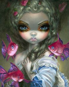 PISCES Poissons Volants: Les Poissons Roses by Jasmine Becket-Griffith Corey Helford Gallery big eyes art painting lowbrow pop surrealism Rococo flying pink fish Princesas Disney Dark, Arte Lowbrow, Pink Fish, Amy Brown, Photo Portrait, Gothic Fairy, Foto Art, Pop Surrealism, Eye Art