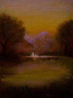 """Waterfall at Little Pond"" - Original Fine Art for Sale - © MeeLi Lee"