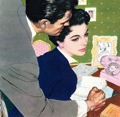 """The painting illustrated the story """"Take All My Love"""" in Woman magazine in 1952."""