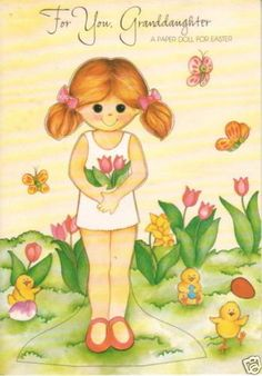 Granddaughter-EASTER-Greeting-Paper-Doll-Card-RARE-Uncut-Vintage-Gibson