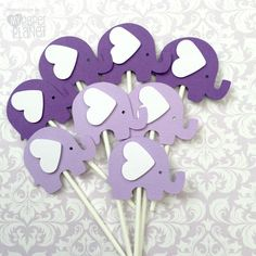 Purple elephant baby shower theme. A set of 8 elephant-shaped cupcake toppers, my original design, they are precision cut from textured cardstock,